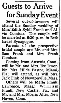 Alvin and Edith Comisar wedding notice