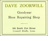 Dave's ad in the school yearbook in 1927